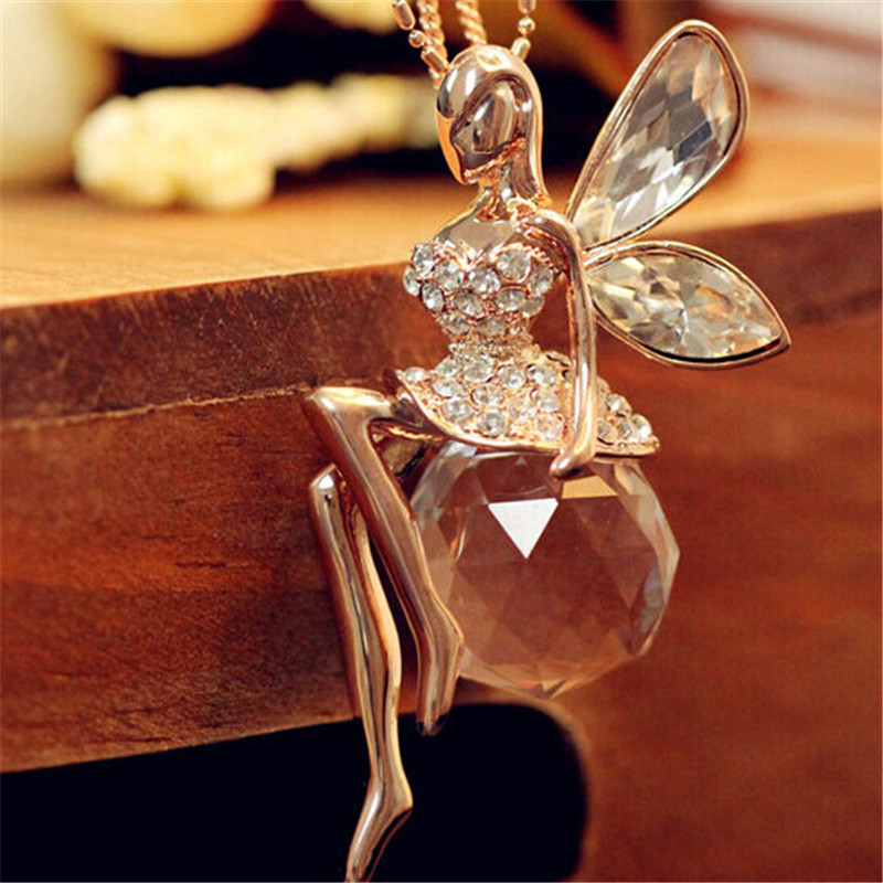 Gold Plated Chain Crystal Angel Wings Necklace Butterfly Fairy Necklace Jewelry for Women