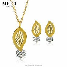 Fashionable punk style women 18 karat gold jewelry leaf shaped jewelry set wholesale