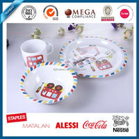 Eco-friendly Cute Cartoon Melamine Dinner Set, Kids Bamboo Fiber New Design Dinner Set