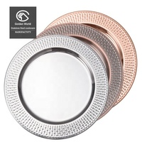 "13"" Stainless Steel Champagne Charger Plate For Wedding With Lace Design"
