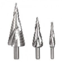 3pcs High Speed Steel He Shank Spiral Step Drill Bits Set for Hand Bench Drills