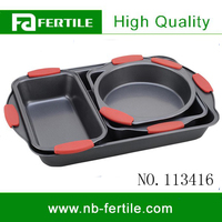 ZLE 113416 4pcs Carbon Steel Cake Pan Set/BAKING SET WITH SILICONE HANDLE