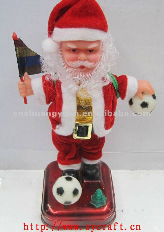 christmas santa claus playing football /christmas ornament santa/moving xmas santa