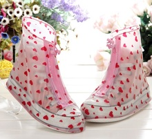Heart Print laides waterproof PVC rain boot cover / shoes covers