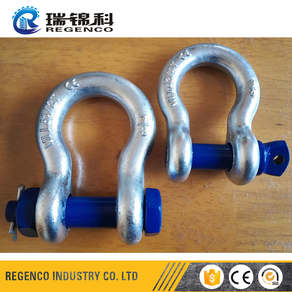 US Type Lifting Rigging HDP Zinc Galvanized Screw Pin Bow Chain Anchor Shackle