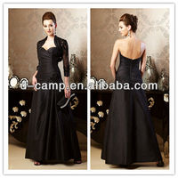 ME-239 New arrival strapless sweetheart neckline ruched fitted bodice black mother of the bride dresses with jackets