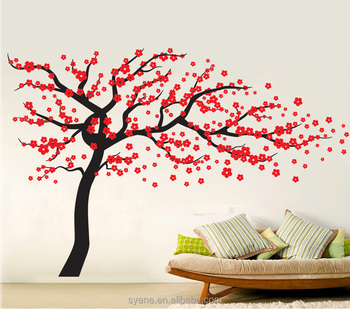 Newest 3d Wall Sticker Sakura Tree Art Vinyl Mural Flower Giant Huge