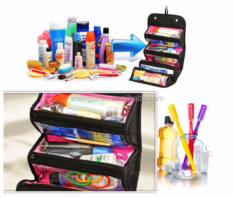 Travel Cosmetic Bag Roll up Makeup Toiletry Bags foldable Organizer with Four Compartments