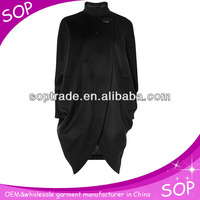 black high-quality draped maxi coats for women wholesale china