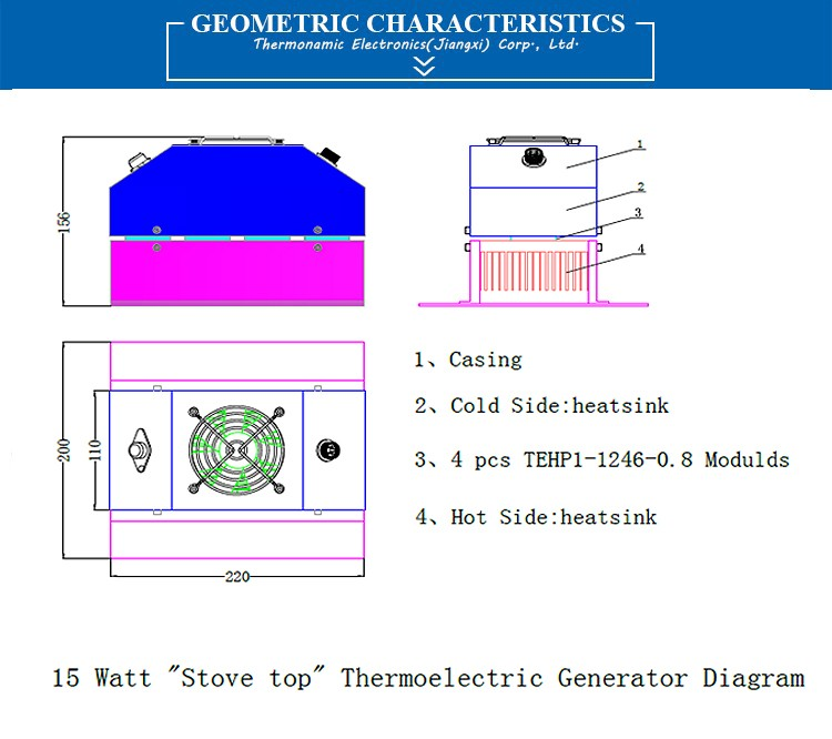 15 Watts Stove top Thermoelectric Power Generator TEG-ST15-12V-2