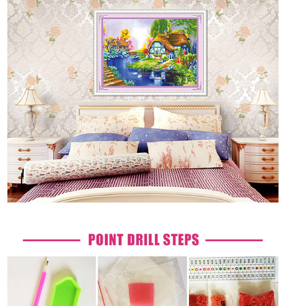 5D DIY Diamond Embroidery Painting Landscape house and blue river for home decoration