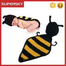 A-1387 Kids Crochet Pattern Bee Hat Crochet Newborn Bee Cape Hat Set Baby Bumble Bee Cape Hat for Newborn Photography Prop