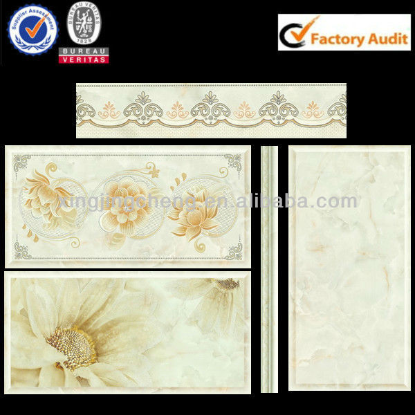 cheap glazed ceramic wall and floor tile matched motif and border