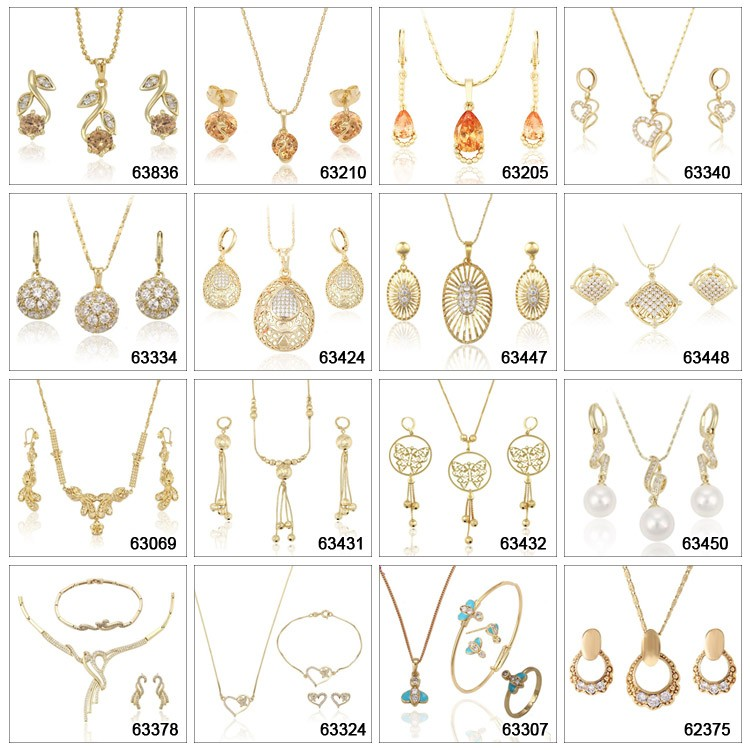 Set-1 Xuping luxury women gold jewelry african style crystal jewelry set necklace for brides