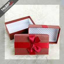 custom printing paper wedding gift box with slik tape bowknot