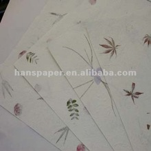 handmade mulberry paper with petals & leaves