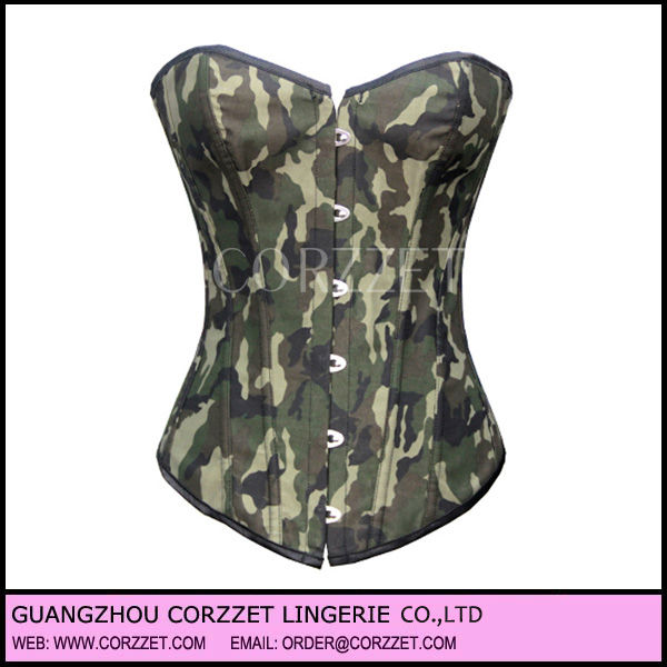 Strapless cotton Army fashion camouflage corset