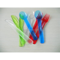 Reusable colourful plastic cutlery set
