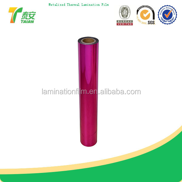 Grade A China factory thermal lamination metalized pvc film