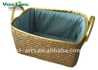 natural small new design pretty salable straw storage basket with handle