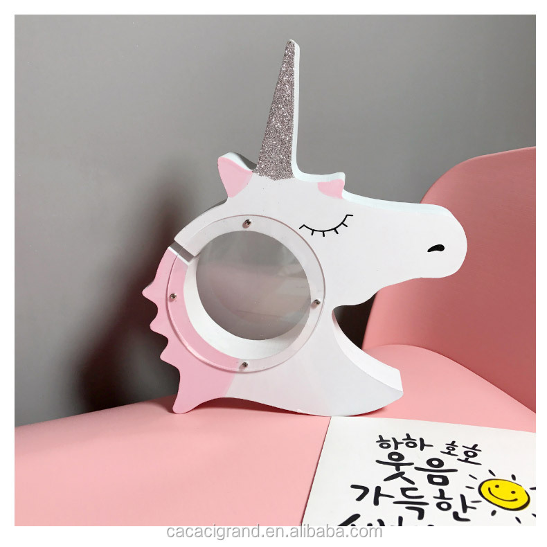Hot Products Wooden Unicorn Money Boxes Pink 4 Designs Home Decoration Use OEM With Good Price