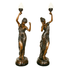 outdoor antique lamp statue bronze lady sculpture lamps