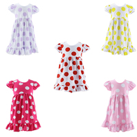 Boutique clothes for girls Little girls boutique remake clothing dress/ polka dots dresses for girl of 5 years old