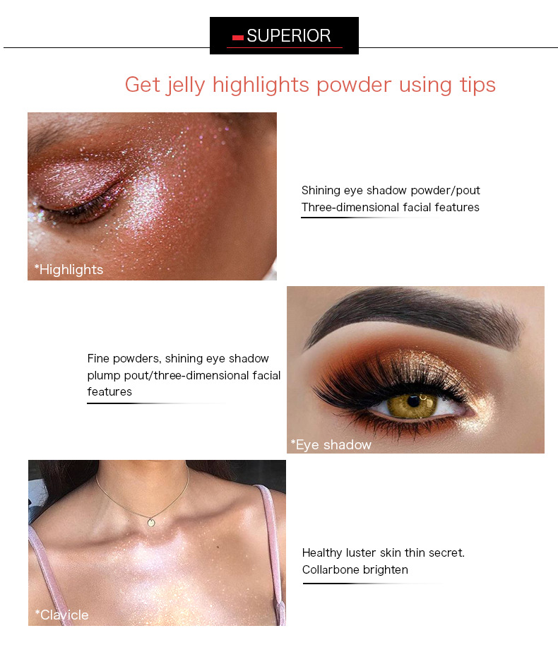2018 Hot sale private label no logo stick double side jelly highlighter makeup highlights powder