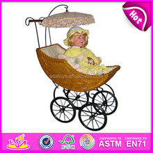 2015 rattan DOLL perambulator toy for kids,role play toy DOLL COT for children,best DOLL BED for baby WJ278227
