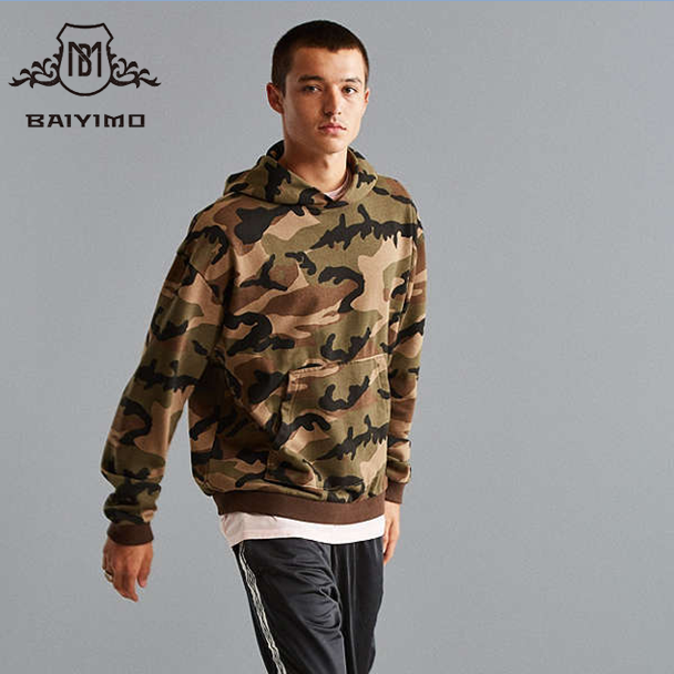 2017 Updated Fashion Soft Cotton Fleece Pullover Mens Latest Design Long Tops Essential Camo Print Hoodies Sweatshirts