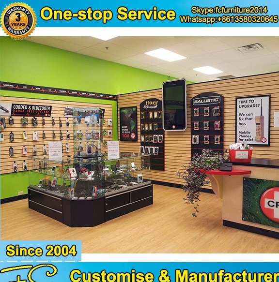 Traditional style mobile phone shop interior design and mobile repair store design