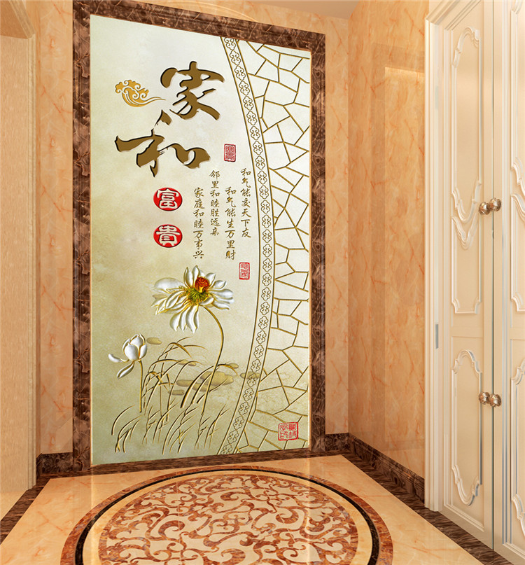 Chinese style flower pattern 3d stereoscopic decorative door mural wall papers