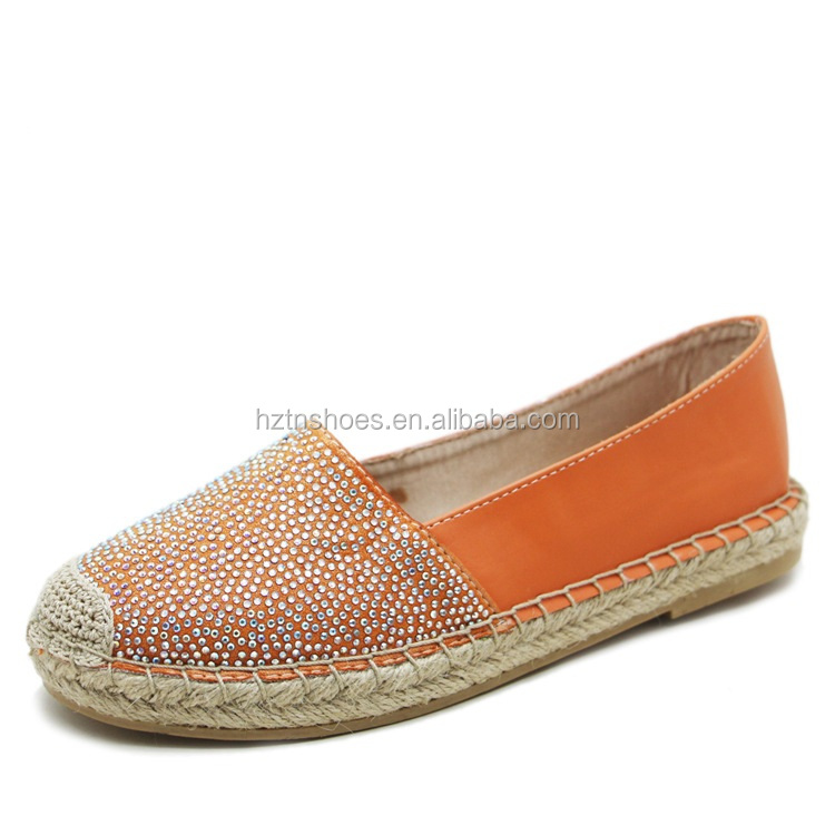 2016 new street walking shoes jute sole espadrille semi hot drilling ladies casual shoes