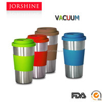 Hot sale , Leather case, double wall stainless steel vacuum travel mug