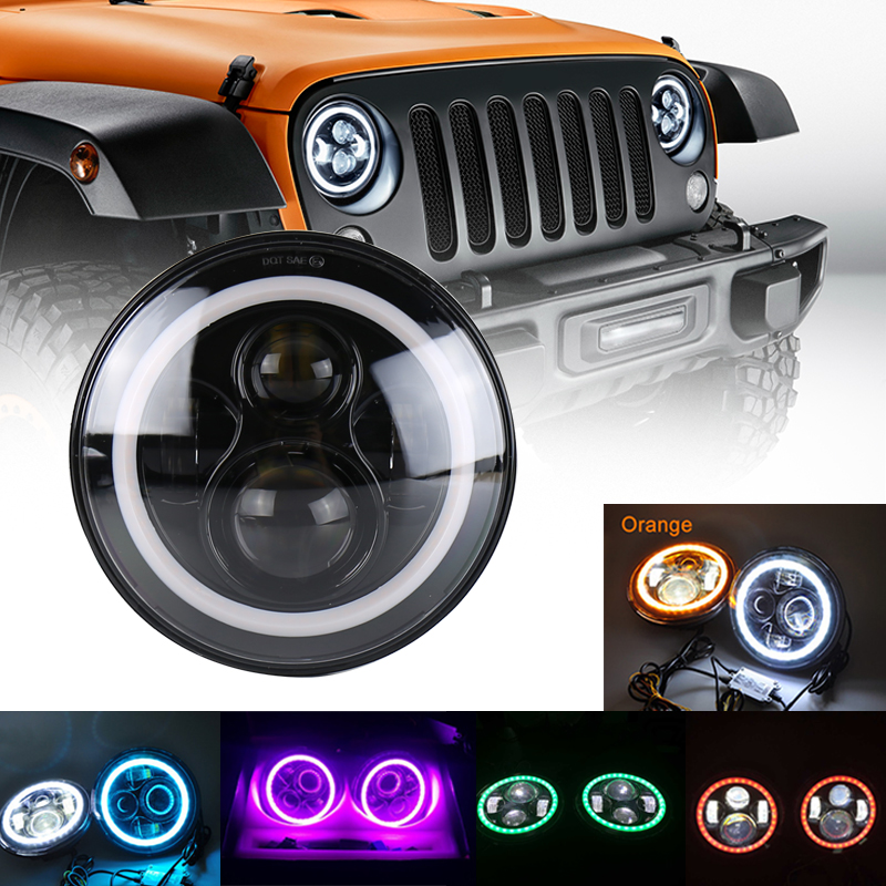 OVOVS 7inch round 40w car wrangler led headlight with halo h/l <strong>beam</strong> for fj c-ruiser