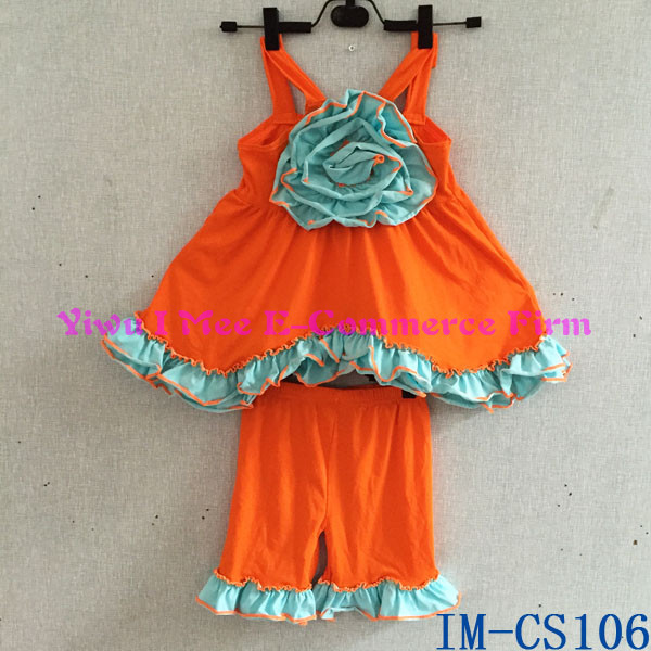 Persnickety Kids Girl Boutique Clothing Sets Wholesale Children's Cotton Ruffled Shorts Summer Outfit Sets with Flowers IM-CS106