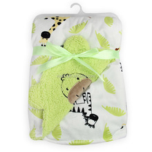 hot sale fresh color 100% cotton custom hooded cute cow head pattern coral fleece baby blanket