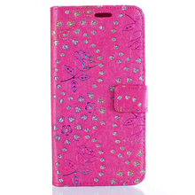 Diamond + flower pattern leather phone case smartphone cover for samsung s6 edge/plus