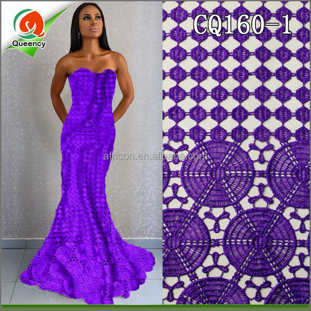 CQ160 Queency High Quality New Design Popular Circle Embroidery Cotton Chemical Lace Fabric for Wedding