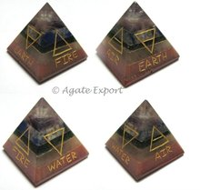 Seven Chakra 5 Elements Engraved Pyramid