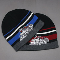 CUSTOM CHEAP RED AND BLUE STRIP EMBROIDERY ANIMAL BEANIE HAT FOR KID'S
