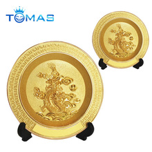 Fashionable design gold color plated custom souvenir pewter plate