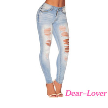 Skinny Ripped Jeans For Woman High Waist Jeans Trousers Women