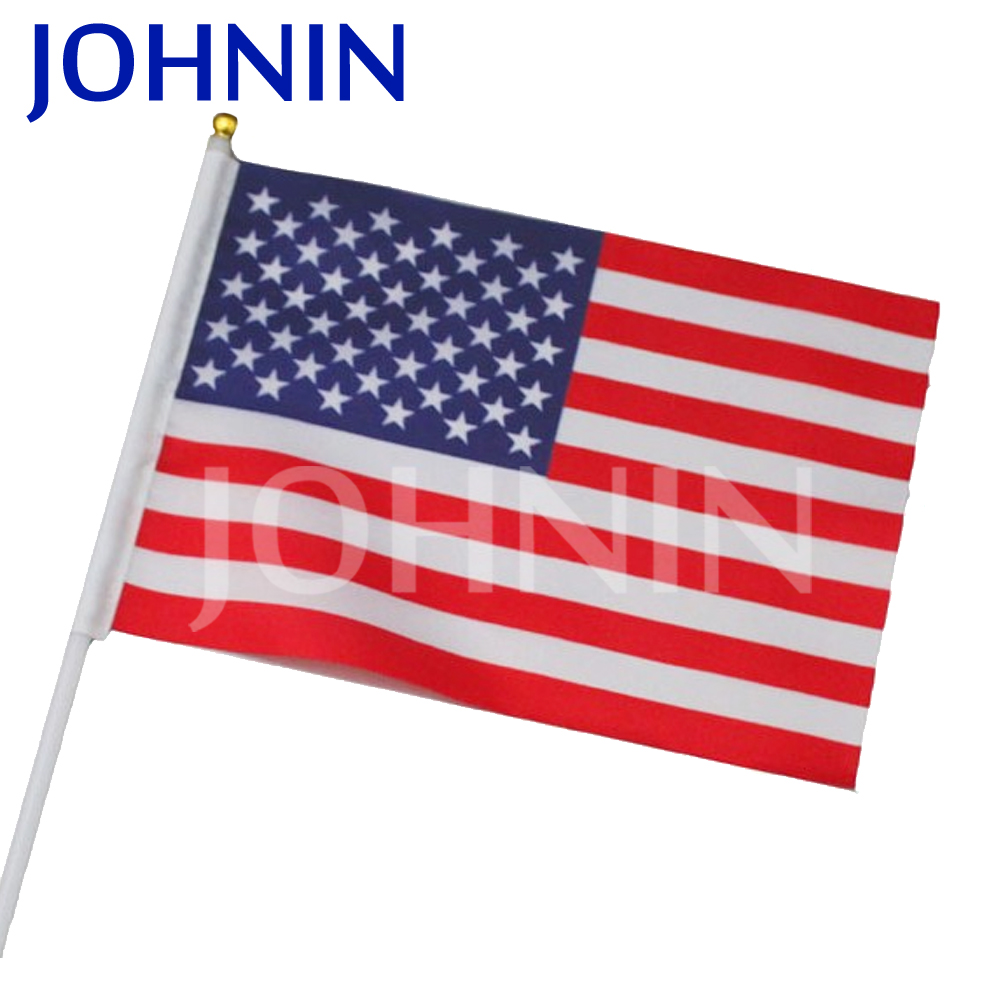 Cheap Polyester Custom Mini Held Stick Hand Flag Wtih Pole