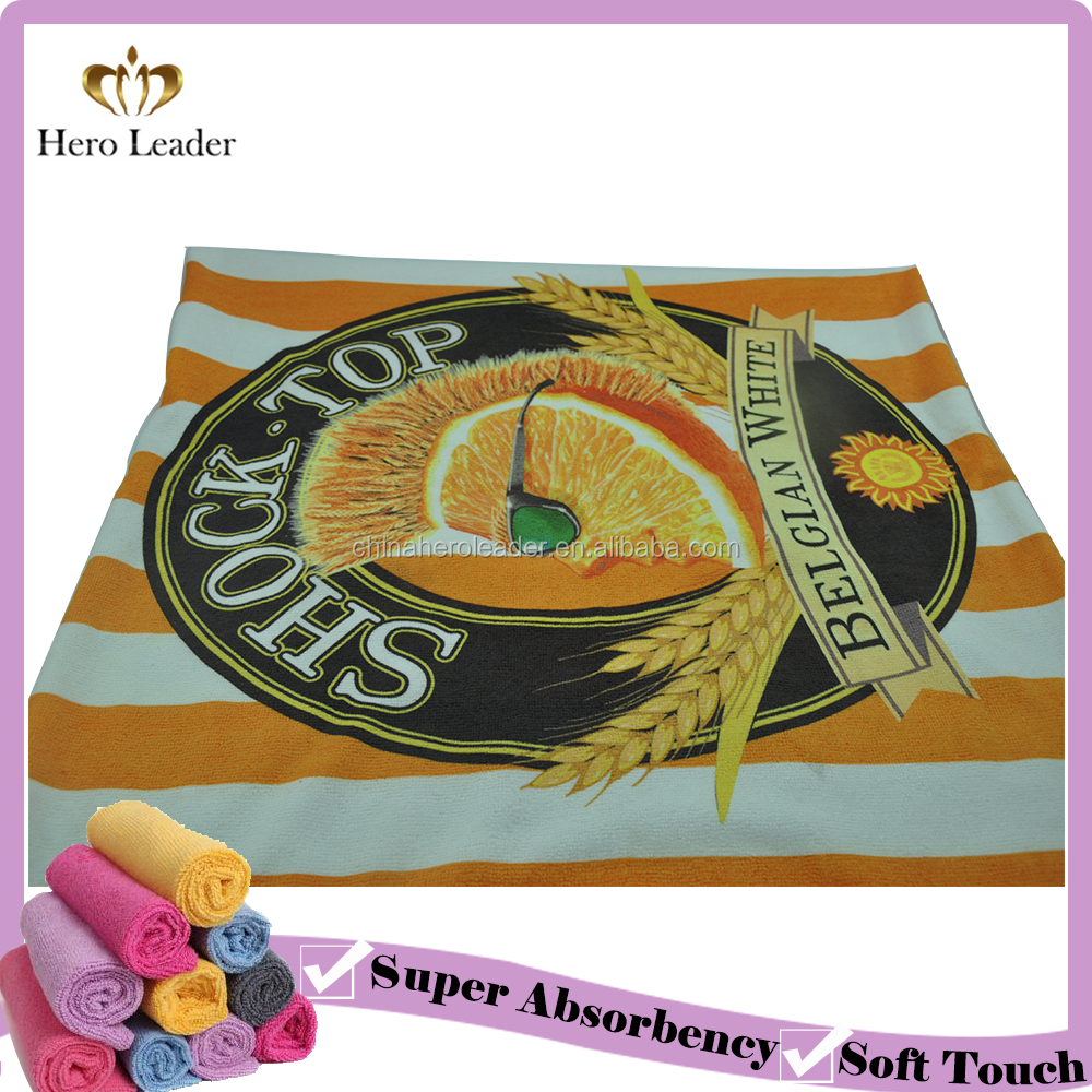 100% Polyester Microfiber Terry Beach Towel in Solid Color/Printing