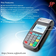 handheld mobile bank electronic payment device with printer CDMA2000 GPRS ethernet wifi barcode for swiping cards and payment