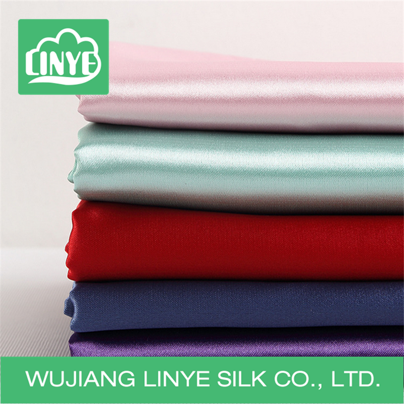 polyester spandex light elastic satin lining fabric / stretch satin fabric