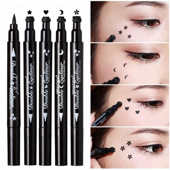 Double Eyeliner Waterproof Black Liquid Eyeliner Stamp 2 In 1 Makeup For Eyes