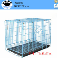 "2 Doors Black 36"" Pet Folding Suitcase hexagon Dog Cage Crate Kennel Pen w/ ABS Tray"