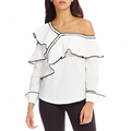 Ruffle Poplin Off the Shoulder Blouse For Women